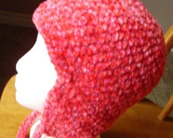 Crochet Bohemian Pink Pow Earflap Hat
