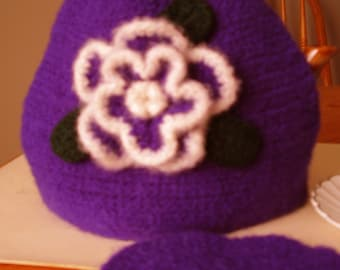 Purple Felted Tea Cozy with White and Purple Felted Rose appliqued
