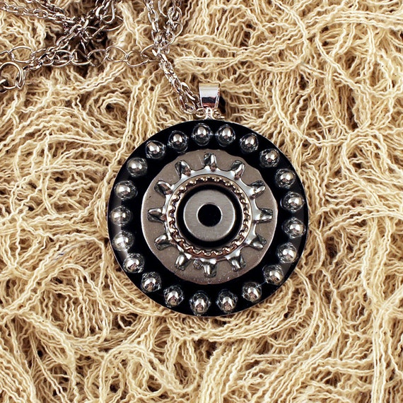 SALE - bb's and washers in black necklace