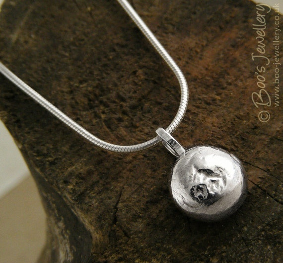 Sterling silver pendant: molten pebble pendant on Sterling silver snake chain