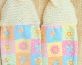 SUPER SALE - Knit Top Terry Towels - Summer Garden - 8 inch Knitted Top plus 12 inch Terry Towels - FREE SHIPPING