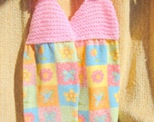 SUPER SALE - Knit Top Terry Towels - Flowers and Butterflies - 8 inch Knitted Top plus 12 inch Terry Towels - FREE SHIPPING
