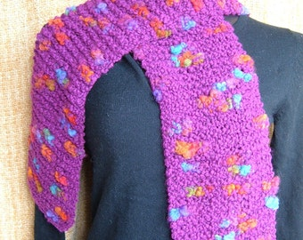 SUPER SALE - Fuchsia Facets - 60 inch Long Knitted Scarf - FREE SHIPPING