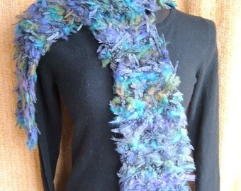 SUPER SALE - Sky Leopards - 62 1\/2 inch Long  Knitted Scarf - FREE SHIPPING