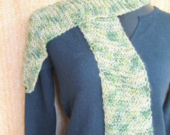 SUPER SALE - Green Desert - 54 inch Long Knitted Scarf - FREE SHIPPING