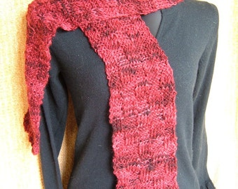 SUPER SALE - Burgundy Cranberry - 73 inch Long Knitted Scarf - FREE SHIPPING