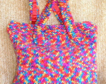 SUPER SALE -  Rocky Mountains - 19 inch x 18 inch Knitted Tote Bag - FREE SHIPPING