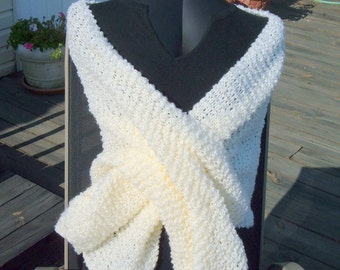 SUPER SALE - Natural Creamy Comfort - 22 inch x 70 inch Knitted Shawl - FREE SHIPPING