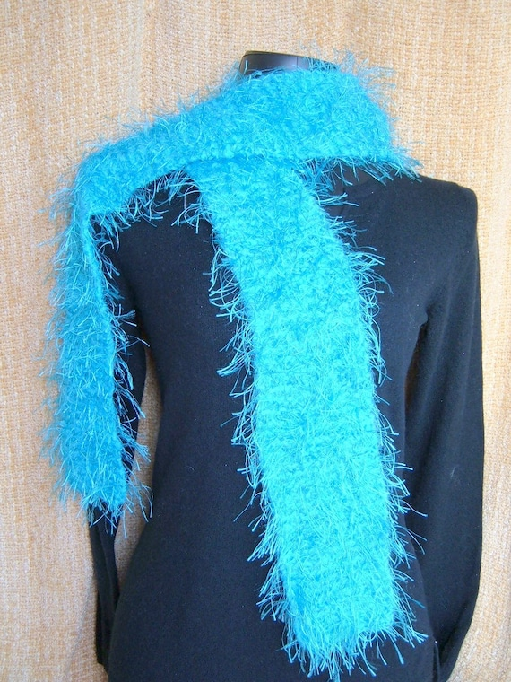 SUPER SALE - Turquoise Parfait - 69 inch Long Knitted Scarf - FREE SHIPPING