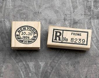Set of 2 Vintage Postal Cancellation Marks Wood Mounted Rubber Stamps
