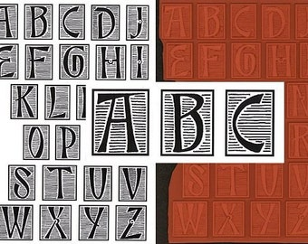 Black Striped Alphabet unmounted rubber stamps