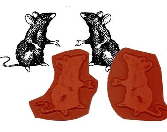 Alice in Wonderland Pair of Dormice Rubber Stamps