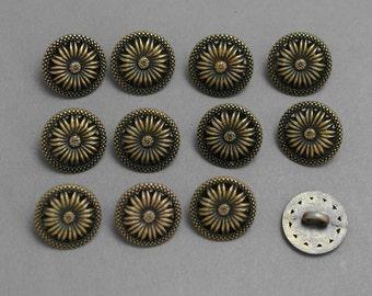 Bronze Tone Metal Buttons 12 per pkg.