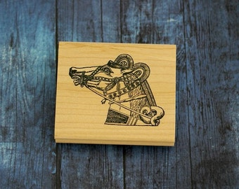 Horse head Wood Mounted Rubber Stamp
