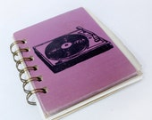 Vivid Violet Record Player Screen-Printed Mini Journal