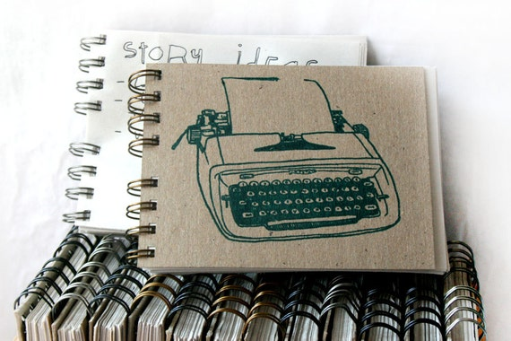 Screen-Printed Typewriter in Turquoise - Wire-Bound Recycled Notebook
