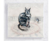 Cat Art - Nursery Art - Blue Tabby Cat and Mouse Canvas Print on 5x5 Art Block - I Think I Saw A Mouse - Cat Portrait - Home Decor