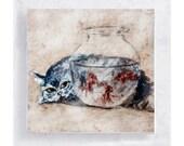 Cat Art - Cat Print - Cat and Fish Art Block - Nursery Art - 5x5 Canvas Print on Wood Frame - Just Looking - Kid's Wall Art - Home Decor