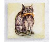 Cat Art - Nursery Art - Cat and Fish Canvas Print on 5x5 Art Block - Cat Fisher - Cat Portrait - Kids Wall Art