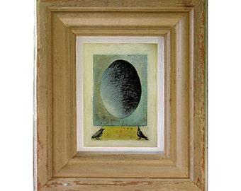 Bird Art - Egg Art - Nest Egg Watching - Egg World - Birds & Egg Canvas Print - Architectural Salvaged Frame - Nursery - Kids' Room Wall Art