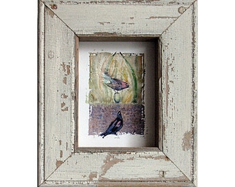 Bird Art - Nest Egg Watching -  The Offering - Birds & Egg Canvas Print - Salvaged Architectural Frame - Nursery - Kids' Room Wall Art
