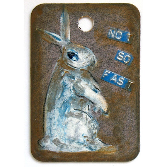 I Never Sleep - On Guard For Thee - Original Painting - Funny Bunny Warning Sign - Hostess Gift