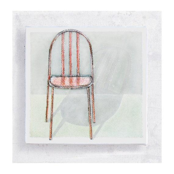 Chair Art - Designer Furniture Still Life on 5x5 Canvas Print  Art Block  -  Mallet-Stevens Stacking Chair -  Wall Art - Home Decor