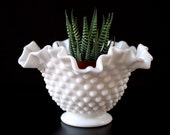 Fenton Vintage Bowl Planter Candy Dish Vase - Hobnail Milk Glass 6 inch Double Crimp Bowl - c. 1950-1960s