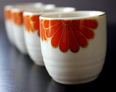 Vintage Sake Cups - Four Matching Cups with Orange and Gold Flower Design