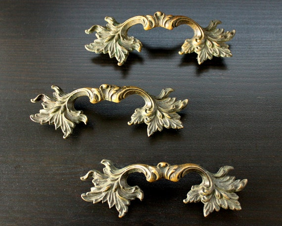 3 Vintage Drawer Pulls - Leafy Brass Furniture Handles