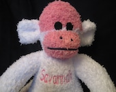 Custom Personalized/Monogrammed Blue and Pink Striped Sock Monkey