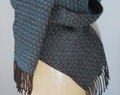 Blue and Black Scarf - Handwoven in Tencel
