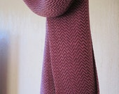 Hand Woven Pink and Burgundy Scarf in Tencel