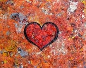 Big Heart 14x11 textured abstract oil painting