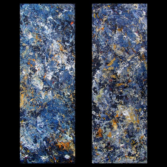blue bandaid diptych 10 x 30 inch pair abstract expressionism