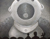 "Mystery Science Theater 3000 mini-painting original art ""Ro-Man the Robot Monster"""