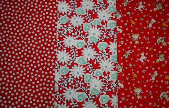 Reproduction 1930s Fabric Lot Pack of THREE C92
