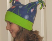 Girls Floral Fleece Print Hat...One Size Fits All