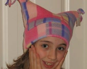 Girls Plaid Fleece Hat.....One Size Fits All