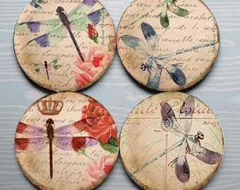 Dragonfly Jubilations -- Dragonfly Illustration Mousepad Coaster Set