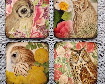 Owls in the Garden -- Mousepad Coaster Set