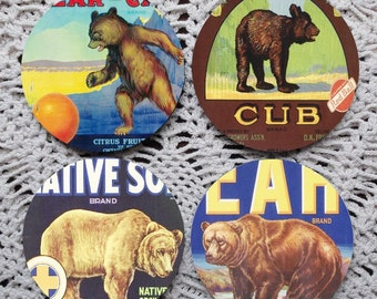 A Sleuth of  Bears -- Vintage Crate Label Mousepad Coaster Set