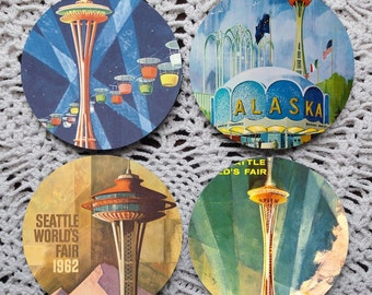 See You in Seattle  -- 1962 Seattle World's Fair Posters Mousepad Coaster Set