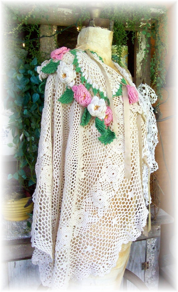 Sale Artisan Fabric Art Wedding Floral Fantasy Vintage Crochet Gypsy Fairy Inspired Tunic Poncho Asymmetrical OSFA -