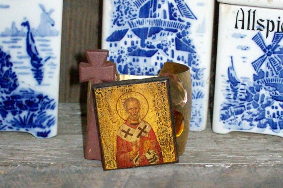 Art Couture Icon Believe It Authentic Greek Hand Painted Wooden Icon Wooden Cross Large Cuff Bracelet OOAK