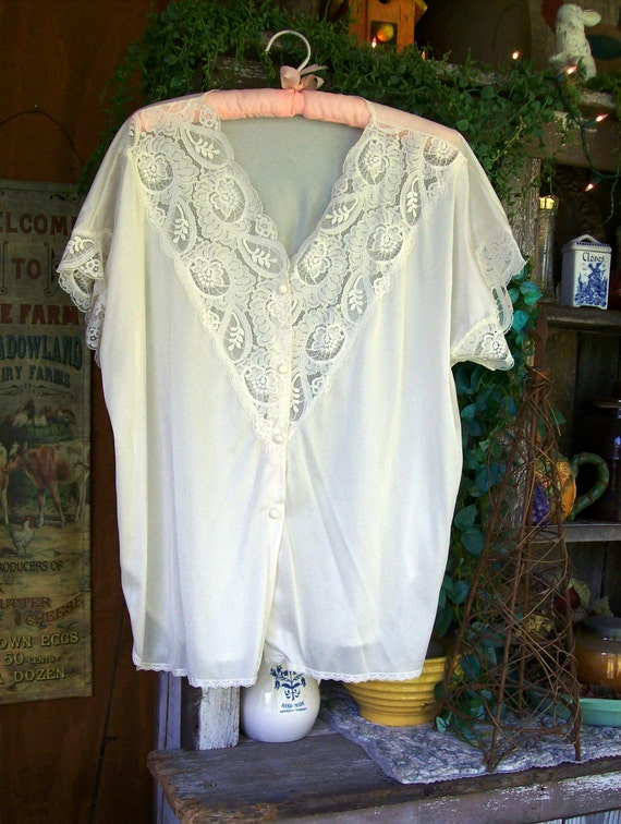 Vintage Olga 1960 Bed Jacket For Lagenlook Over Cami Or Tank Great Summer Layering
