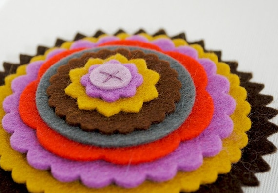 Multicolored Layered Wool Felt Flower Pin