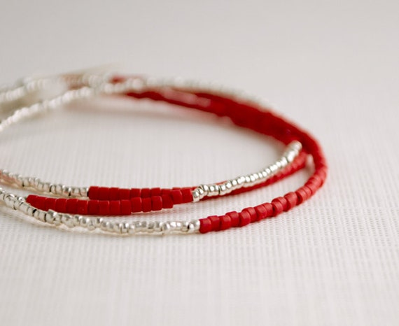 Sterling Silver and Red Glass Beaded Necklace