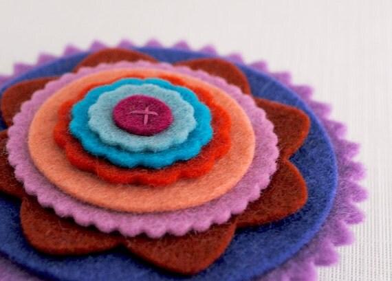Beautiful Wool Felt Flower Brooch