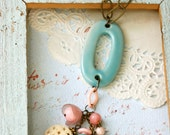 ooak vintage beaded aqua blue tassel necklace..softly spoken